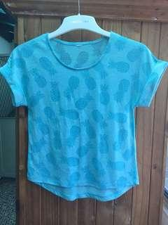 Girl's Sz10 Blue Pineapple Top
