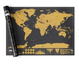 Deluxe World map Large Scratch Off Adventure World Map Poster. Ultra Sharp Black & Gold Surface scratch