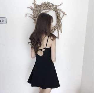 露背洋裝。黑色