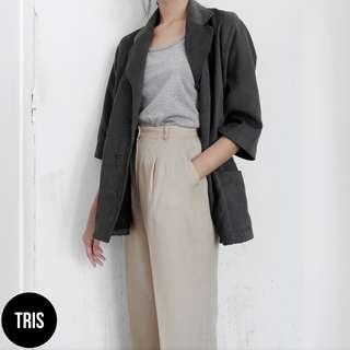 GREY MIDI OUTER COAT