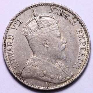 1902 香港愛德華七世 一毫 10 cents 銀幣 飄亮值得收藏