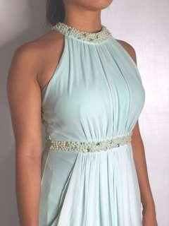 Mint pearl long gown for rent