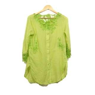 [COD] Korean Embroidered Fashion Blouse [FS] Women's Oversized Apple Green Blouse
