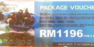 Waterfall Abseiling, White Water Rafting, River Tubing & Sunset Hiking 3d2n package for 2 pax Voucher