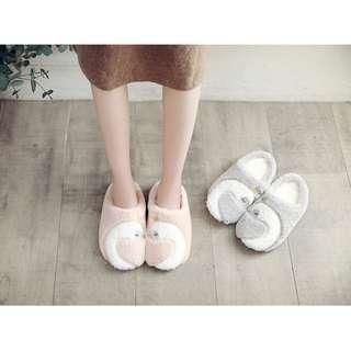 日系HALLUCI新品 /仿兔絨加厚/皇冠天鵝超保暖脚絨絨舒適室内家居拖鞋