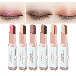 NOVO Eyeshadow double colour(Beli 6pcs gratis  ongkir jne/jnt sesama bandung dan jakarta)