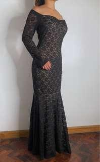 Lace long sleeve black long gown