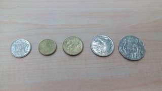 Austrilia 2 dollar coin 15pcs,1 dollar 7 pcs,5c 10c 12 pcs20c 14pcs 50c 4pcs