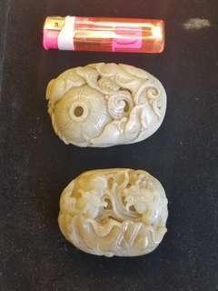 舊工中國白玉兩件