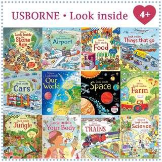 Usborne look inside series suitable for kids age 4+