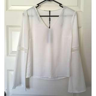 Brand New Size 6 Myer Tokito White Bell Sleeve V-Neck Blouse Top BNWT