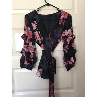 Portmans Size 6 Navy Blue/Pink Floral Wrap Top
