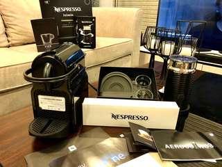 Nespresso Inissia + Aeroccino 3 with FREE! View Espresso Cup (2 sets) + 19 coffee capsules