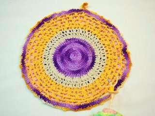 古董手工鉤織多彩圓墊