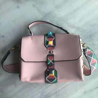 Light Pink Studded Sling Bag