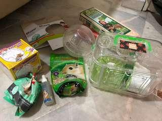 Hamster FULL SET CAGE ACCESSORIES FOOD DRINKS BOTTLE