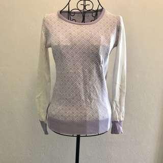 Light Purple & White Cotton Top (size S)