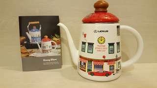 全新-LEXUS日本Honey Ware Merry富士琺瑯手沖壺1L/紅色-易碎品希望自取