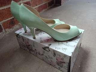 Betts | Mint Peep Toe Heels 9