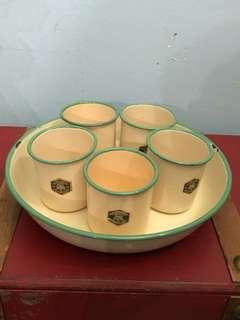 Genuine Swedish K.E.R enamelled ware cup with tray.made in sweeden.