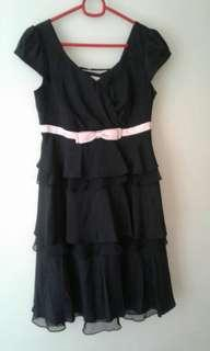 Black Cocktail Dress with Pink Ribbon as accent