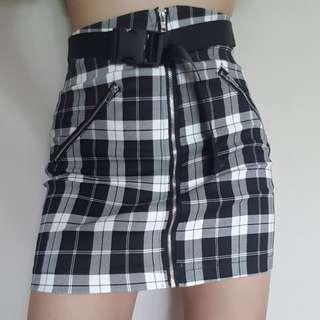 PO// Plaid Belted Skirt