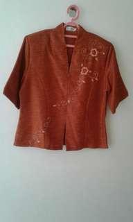 Orange formal beaded blouse