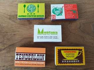 Mixed coffee house match boxes