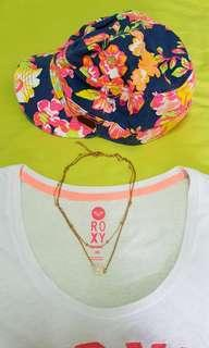 [Roxy GRAB BAG💕] Pinky Flower Cap & T-shirt & White Crystal Necklace