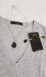 [$20 GRAB BAG💕] Shiny Silver Long Sleeve & Crystal Black Necklace & Earrings Set