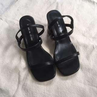 🚚 黑色細帶粗跟涼鞋  nude dresseum dress code 2143 soulsis