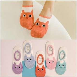 Lady Cotton Ankle Boat Socks Cute Cat Face Pattern Low Cut1