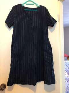 韓式深藍色長條紋連身裙 (側有袋)(包順豐)