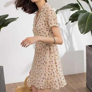 [instock] Cherry Print Wrap Dress