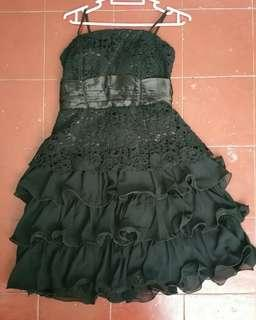 Black Dinner Dress Stretchable with Lace & Ribbon