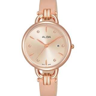 Alba Ladies AH7Q42X1 Rose Gold Pink Leather Jam Wanita AH7Q42 Original