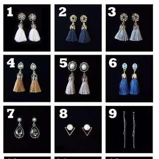 Hand made earrings (drop , tassel , studs)