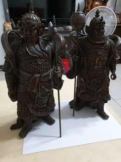 🚚 銅雕門神一對