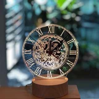 🚚 Custom LED clock with wooden base
