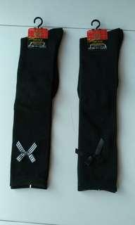 High school knee hi black socks ribbon
