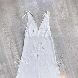 Embroidered Midi Slip Dress