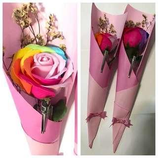 Soap rose Bouquet with stylus pen