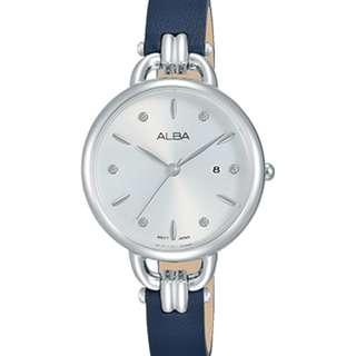 Alba Ladies AH7Q45X1 Silver Biru Tua Leather Jam Wanita AH7Q45 Original