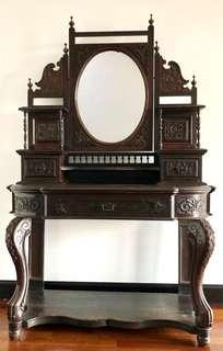 Antique Carved Dressing Table w/ Adjustable Mirror