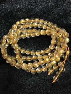 Natural Brazil Gold Rutilated 7.5mm beads Necklace 天然巴西108颗x7.5mm金钛晶项链