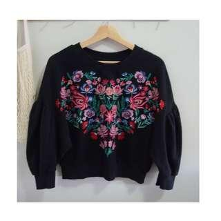 BERSHKA Floral Embroidered Sweater with puff sleeves (Size S)