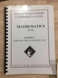 FREE A levels Mathematics Past Year Questions