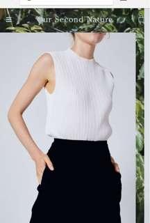 OSN High Neck Pleat Top White