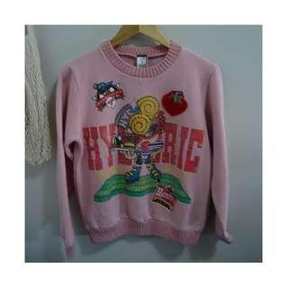 HYSTERIC GLAMOUR Mini: Vintage Embroidered Sweater in Pink (Size S)