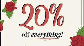 20% off everything - this week only !!